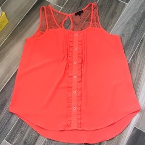 Coral Tank with sheer shoulders
